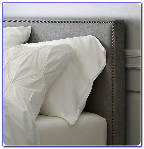 Gray Upholstered Headboard With Nailhead Trim