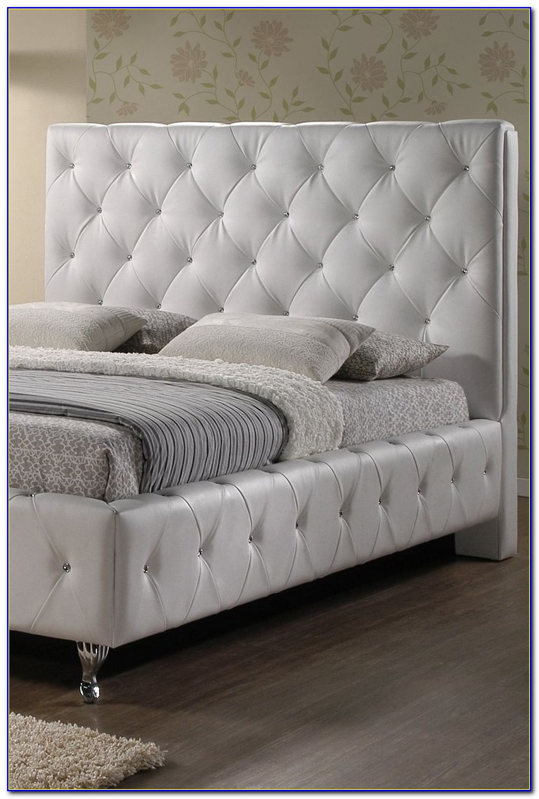 Grey Tufted Headboard With Crystals