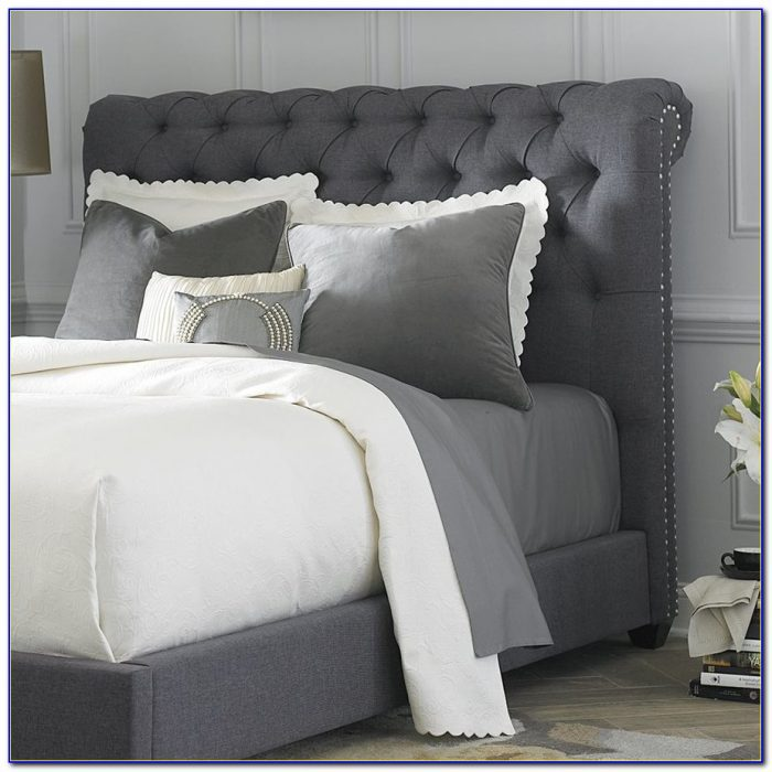 Grey Upholstered King Headboard