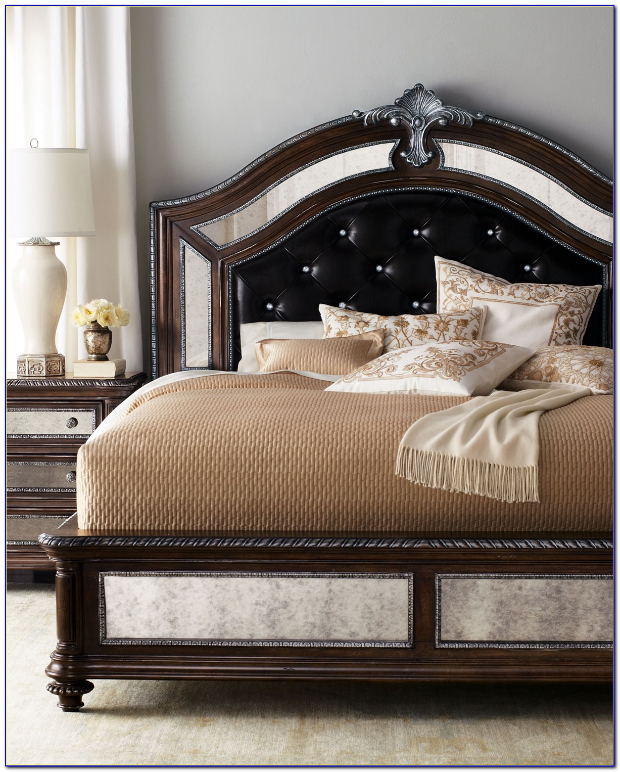 King Size Bed Frame With Leather Headboard