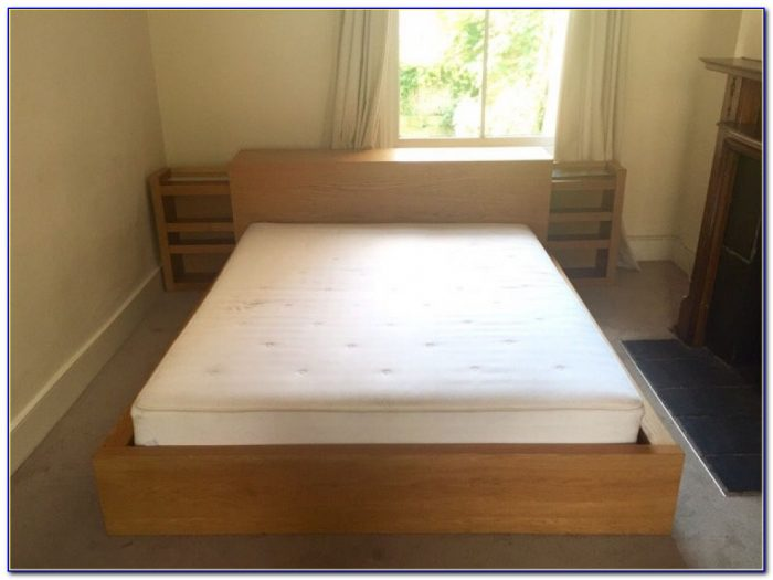 Ikea Malm King Size Double Bed, Headboard Storage Unit & Mattress For Malm Bed With Storage Headboard