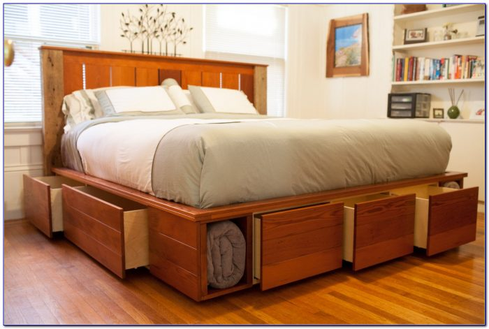 King Size Bed With Storage Headboard