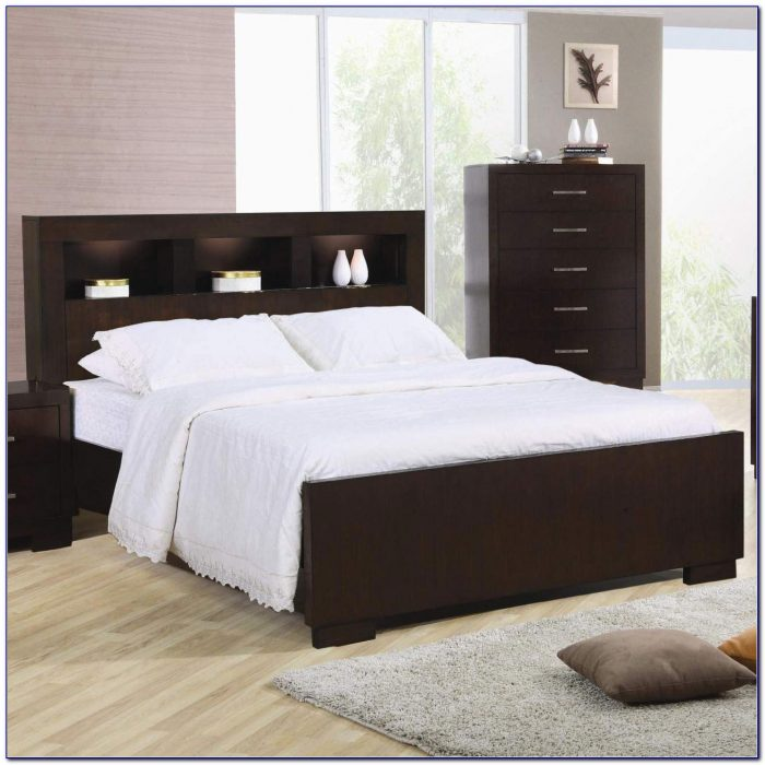 King Size Bookcase Bed Headboard Bedroom Storage Space Black New
