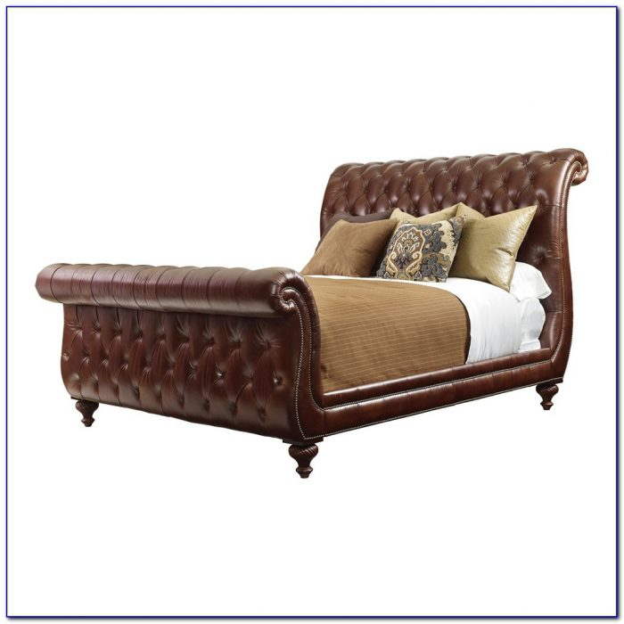 King Size Sleigh Bed With Leather Headboard