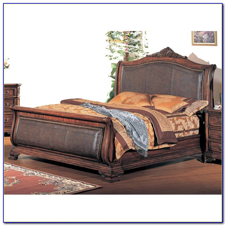 King Sleigh Bed With Leather Headboard