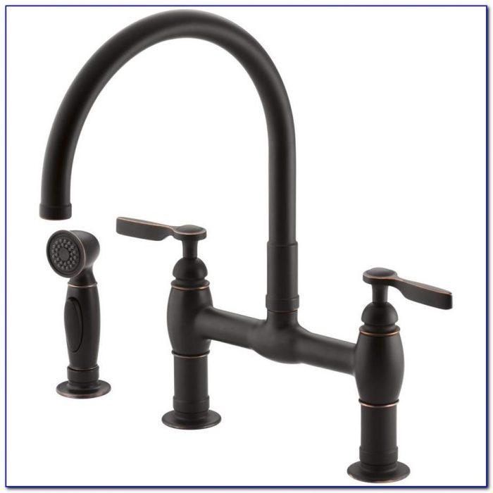 Oil Rubbed Bronze Bridge Kitchen Faucets