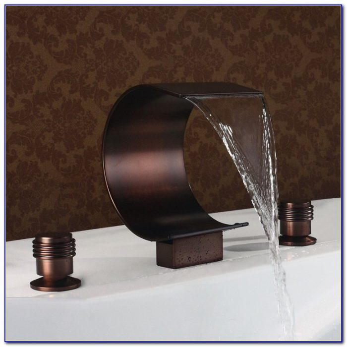 Oil Rubbed Bronze Waterfall Roman Tub Faucet