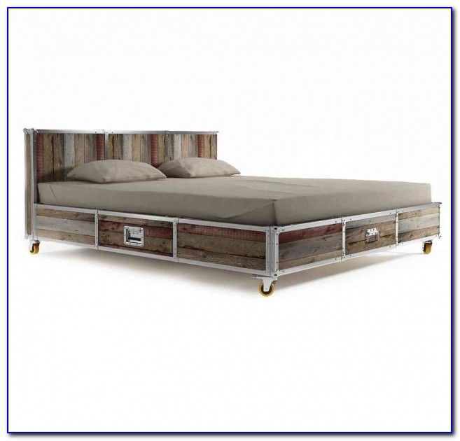Industrial Style Wood And Iron King Bed Frame With Caster Wheels Full Size Platform Bed With Drawers Image 17