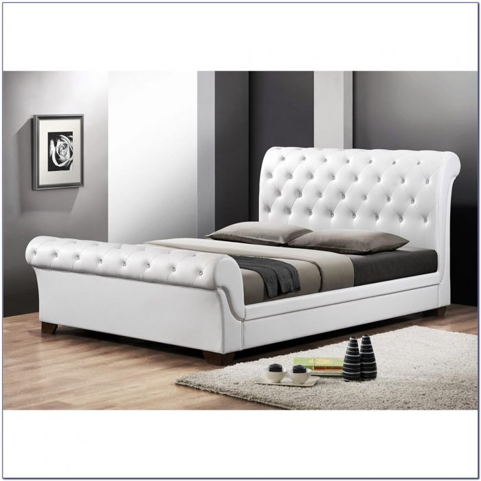 Queen Sleigh Bed Leather Headboard