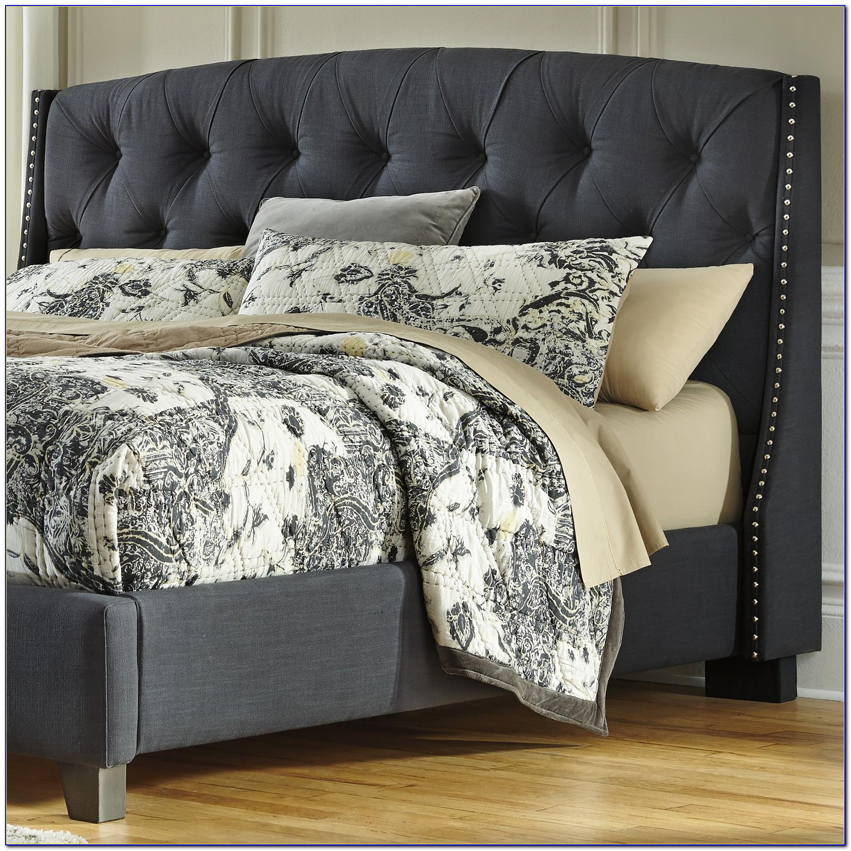 Queen Upholstered Headboard With Nailhead Trim