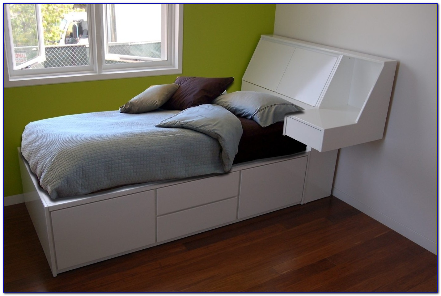 Twin Storage Bed With Headboard Solid Wood