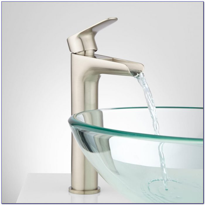 Vessel Sink With Waterfall Faucet Combo