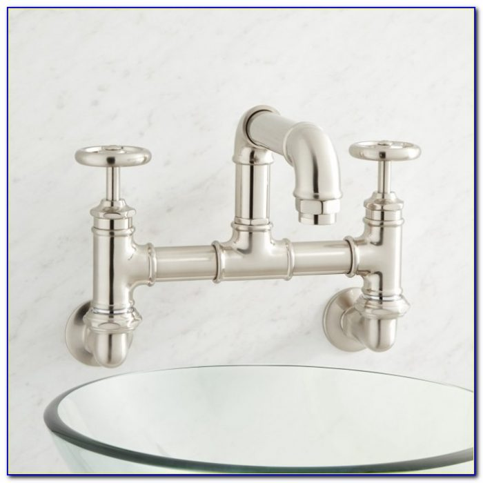 Wall Mounted Bridge Faucet Bathroom