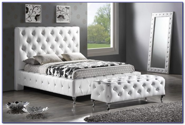 White Faux Leather Headboard With Crystals