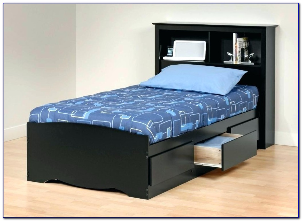 White Twin Bed With Storage Headboard