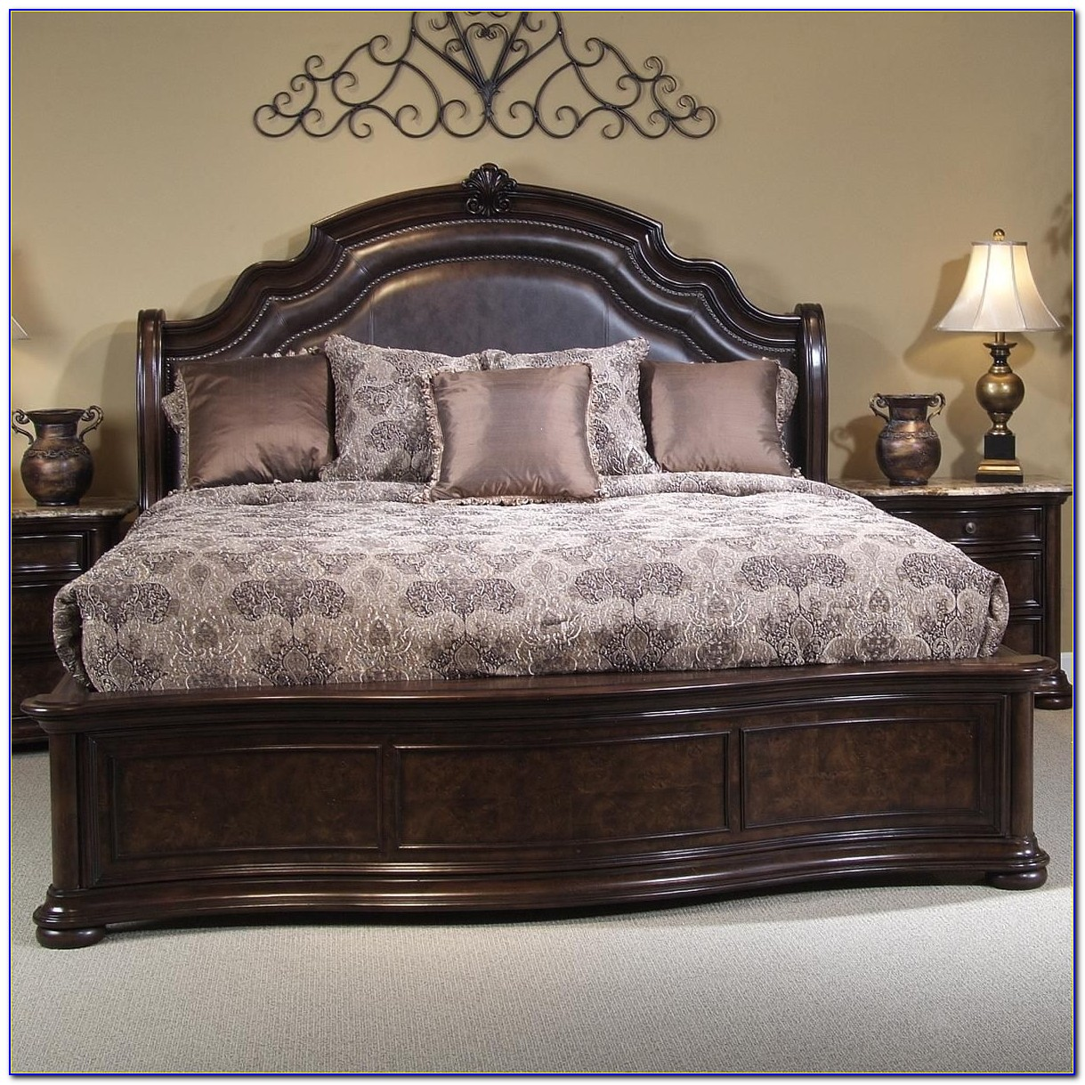 Wood Bed Frame With Leather Headboard