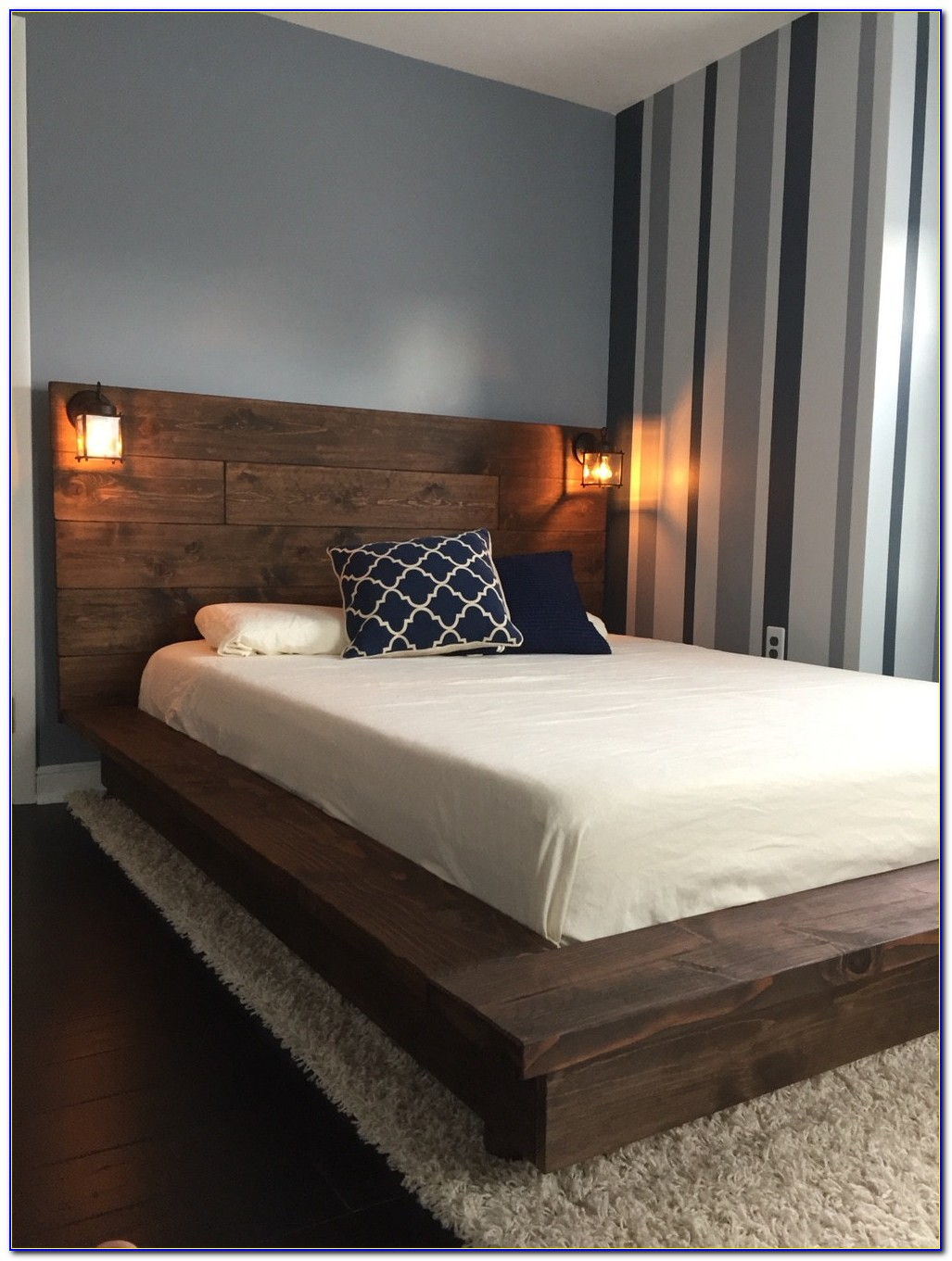 Wood Platform Bed Frame With Headboard