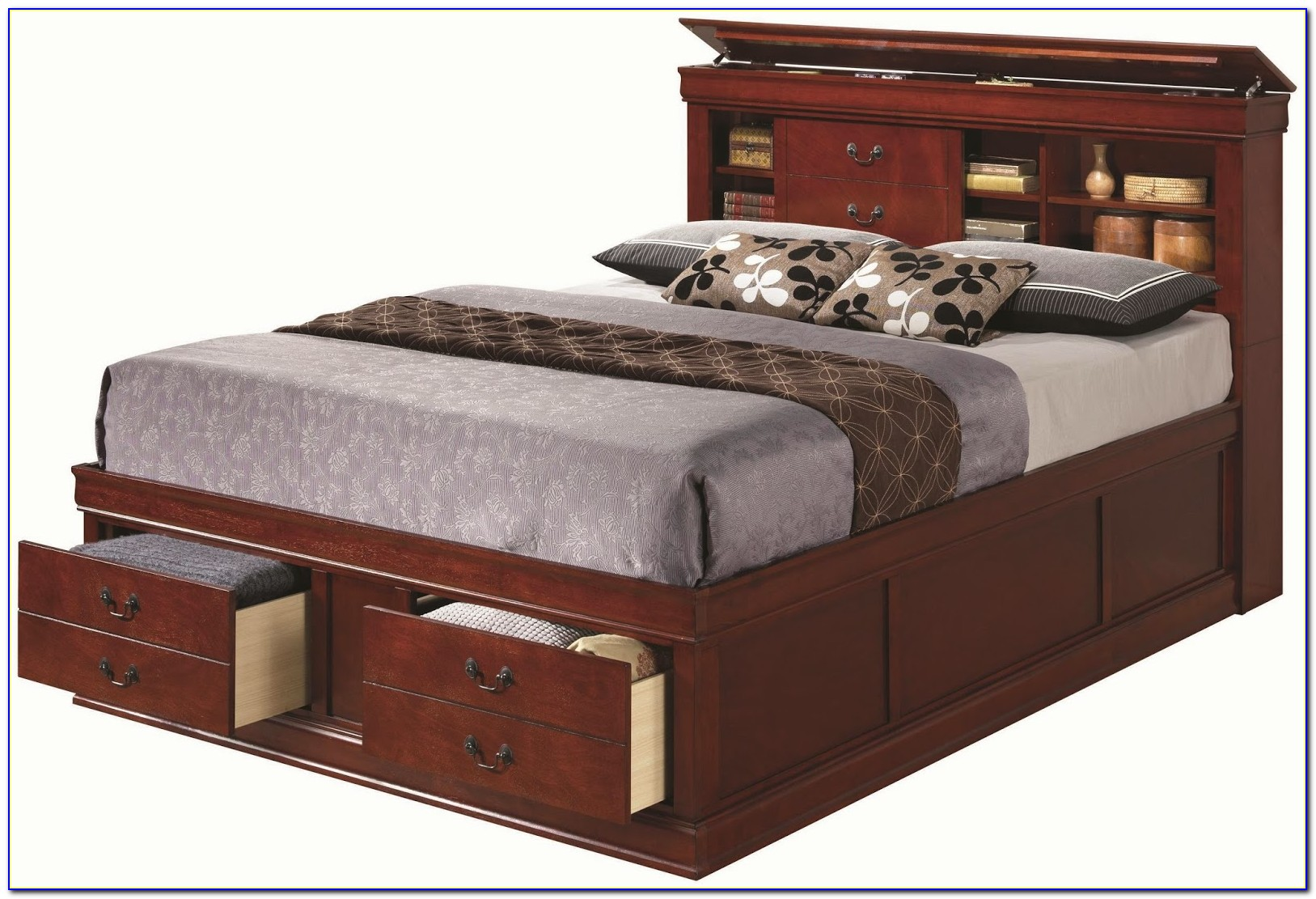 Full Beds With Storage Headboards