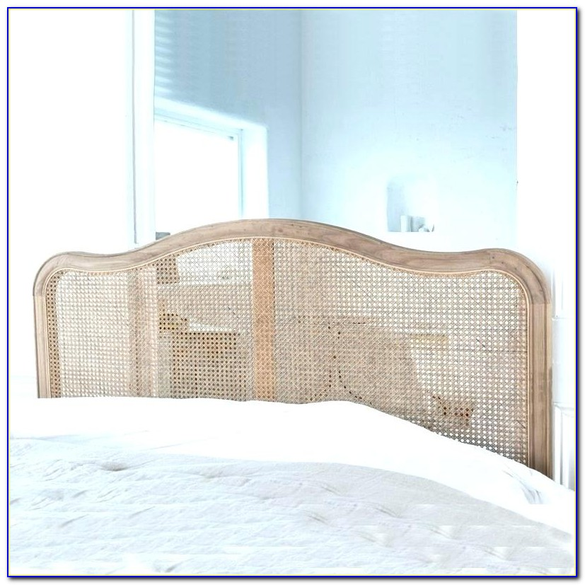 Full Size White Wicker Headboard